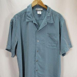 Columbia XL Short Sleeve Button Down Shirt Blue